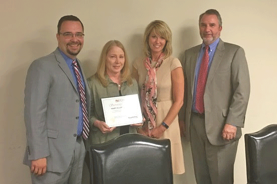 Mary Ellen Branham received the Secretary's Citation for excellent customer service. (Pictured L to R: Brandon Butler, Mary Ellen Branham, Secretary Kelly Schulz, Deputy Secretary David McGlone)